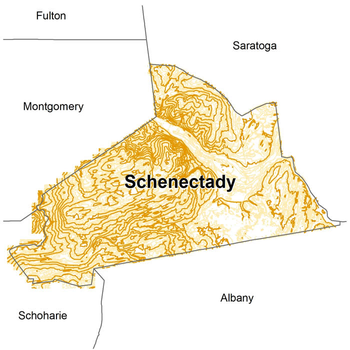 Nys Elevation Map.Contours Schenectady